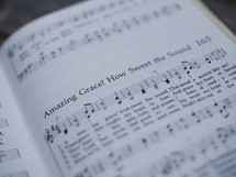 Amazing grace, sheet music, hymnal, song, worship music