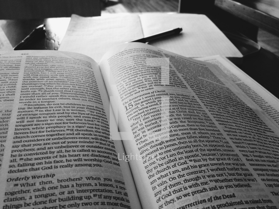 Reading scripture in a coffee shop.