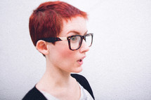 surprise, redhead, model, short hair, woman, reading glasses, pixie haircut