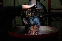 steam and coffee beans