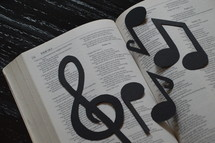 Bible open to Psalm 13 with notes and treble clef.