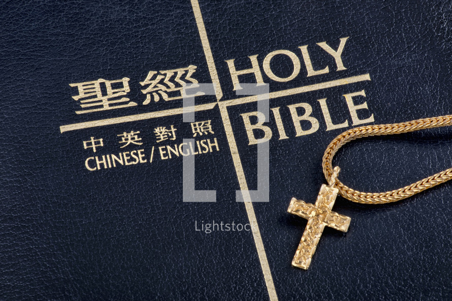 gold cross necklace on a Chinese Bible