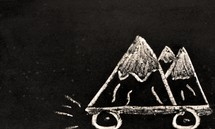 chalk drawing of a mountain with wheels