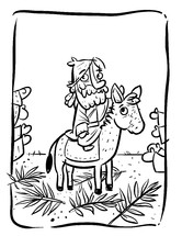Jesus riding on a donkey