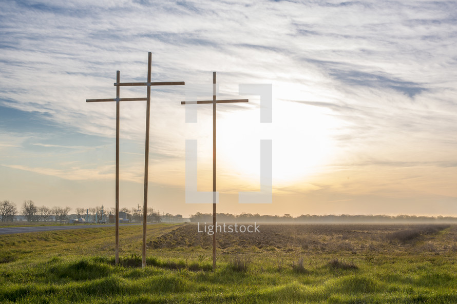 three crosses at sunrise
