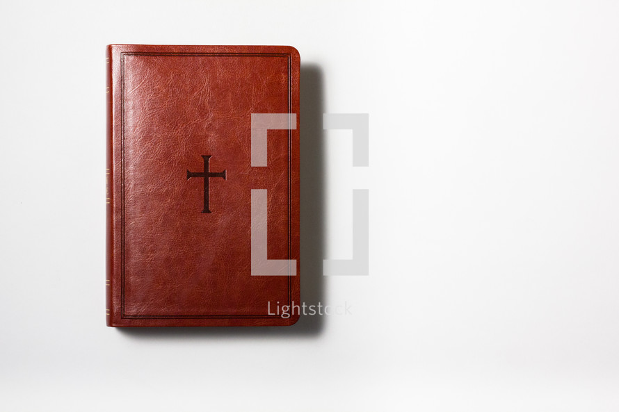 cover of a leather Bible on a white background