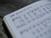 Because he lives, sheet music, hymnal, song, worship music