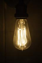 glowing filaments, in a lightbulb