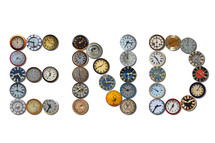 The word, END, written with different clocks.