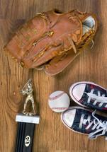 baseball glove, trophy, sneakers, baseball, champions, sports, ball