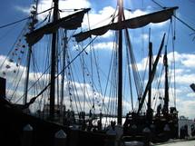 masts of a large sailboat