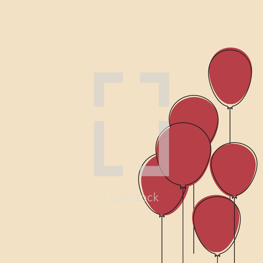 red balloons illustration.