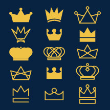 Set of crown icon illustrations.