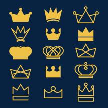 Set of crown icon illustrations.