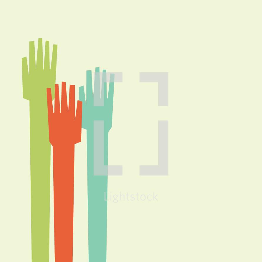 Raising hands vector illustration.