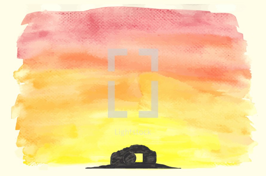 Vector watercolor of the empty tomb. The tomb, hill and sunrise are grouped in separate layers.
