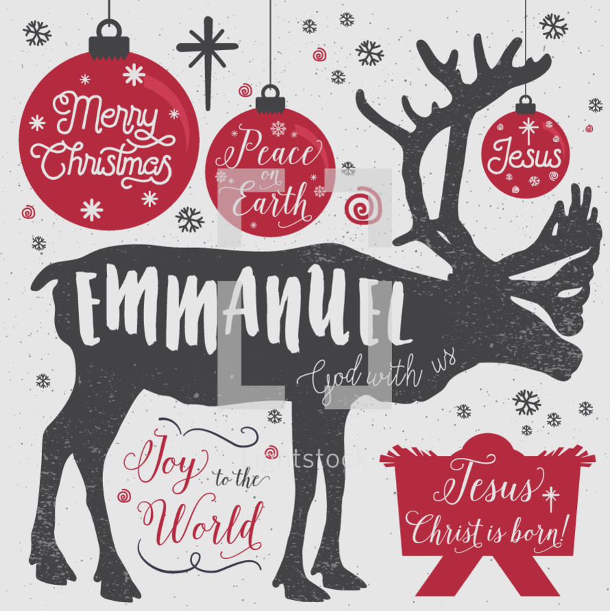 A collection of Christmas sayings and shapes