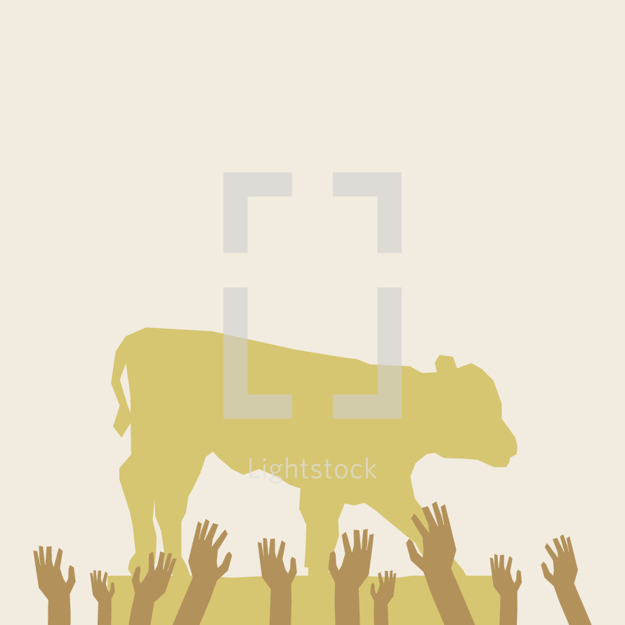 golden calf and reaching arms illustration.