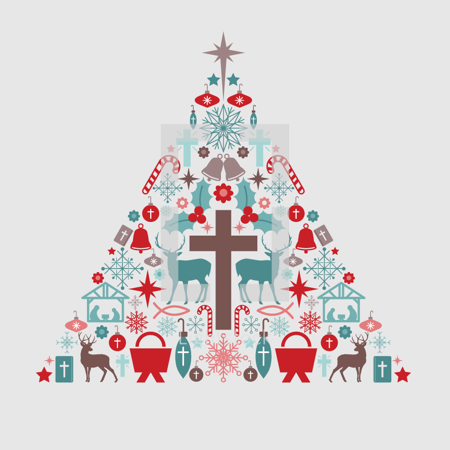 Christmas icon tree.  Includes various icons - nativity, cross, deer, bell, ornament, manger, snow flake, candy cane, star, holly, Jesus fish, flower.