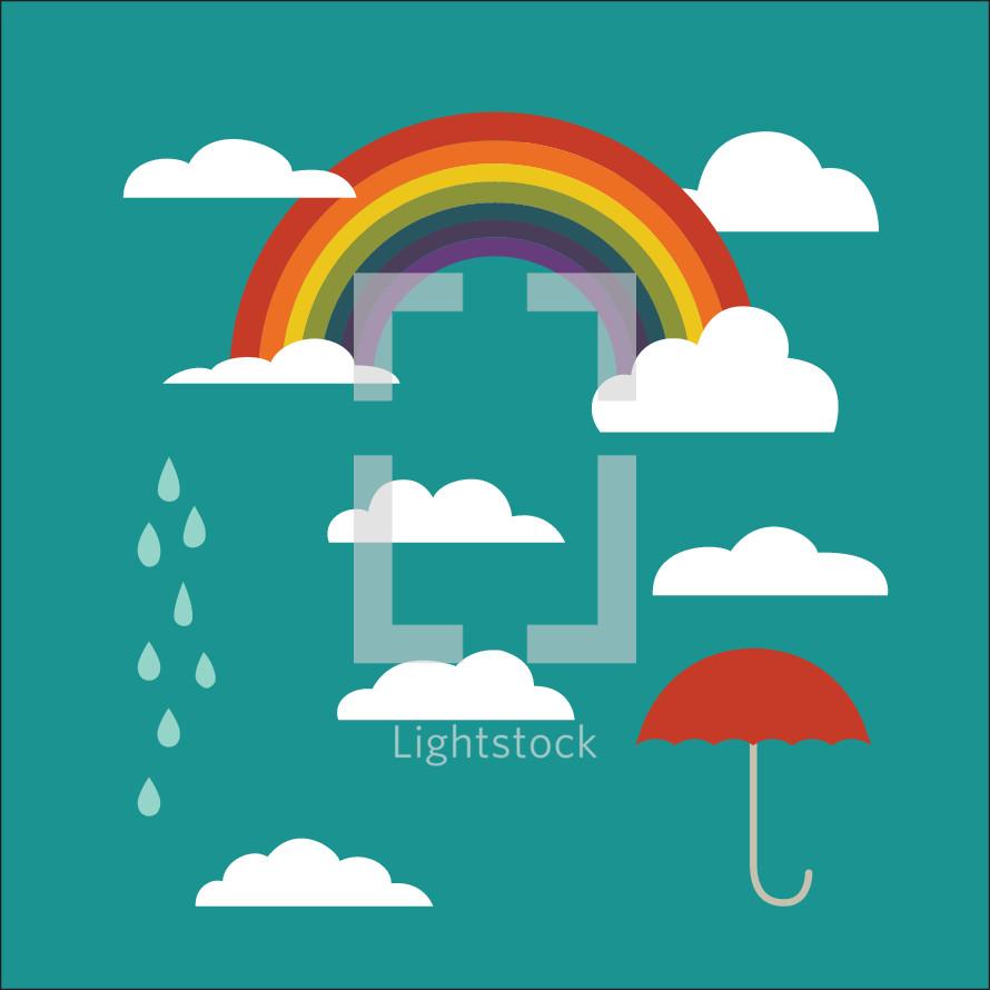 rainbow, clouds, rain, umbrella vectors on green