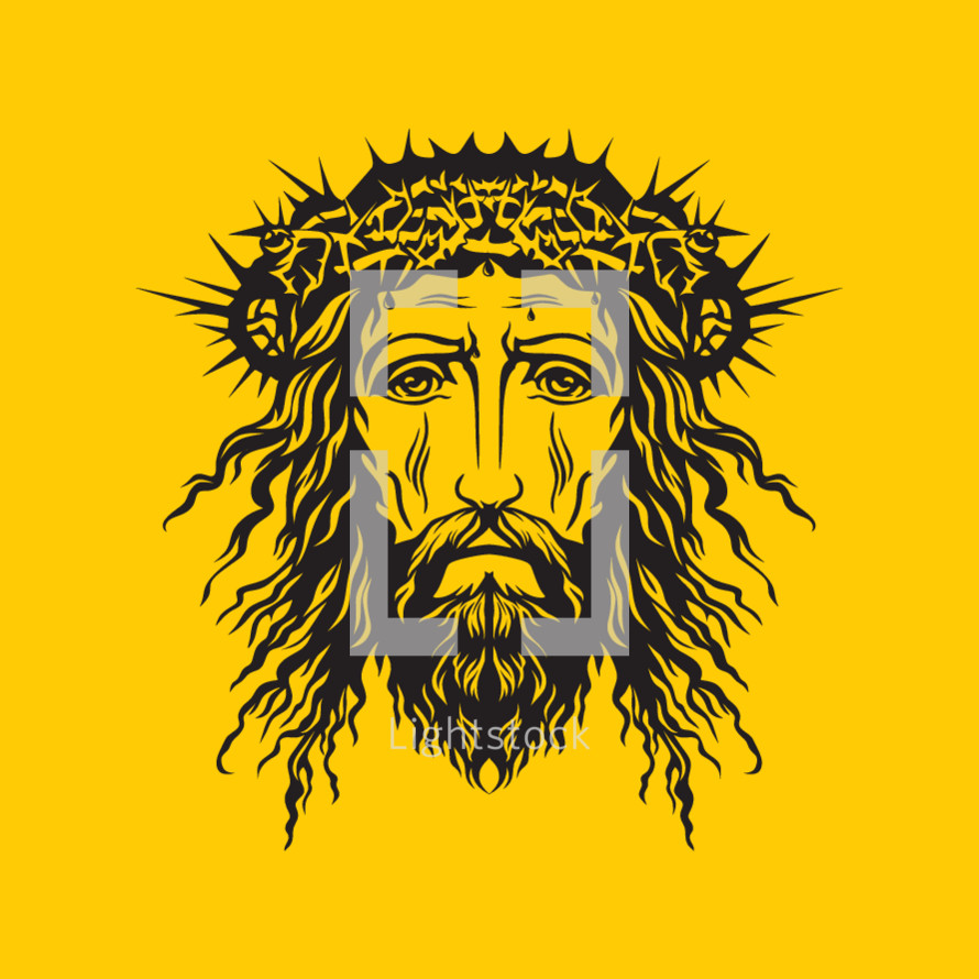 head of Jesus with crown of thorns