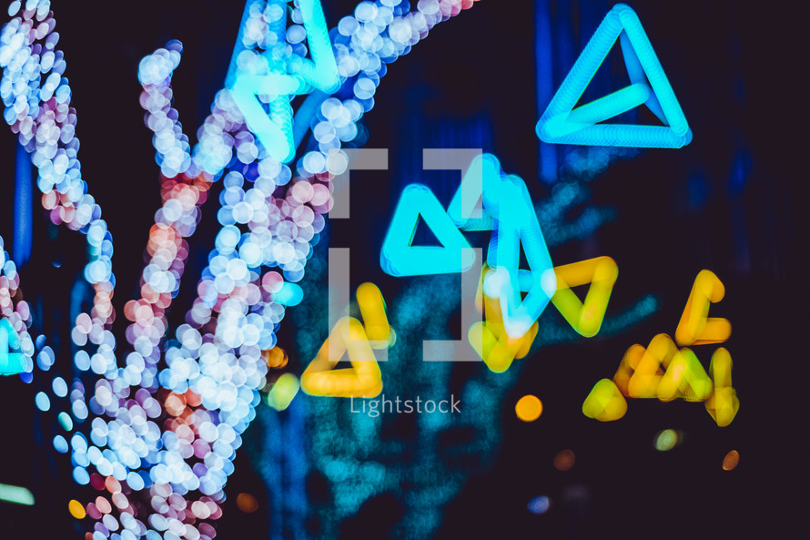 vivid Christmas light display at night