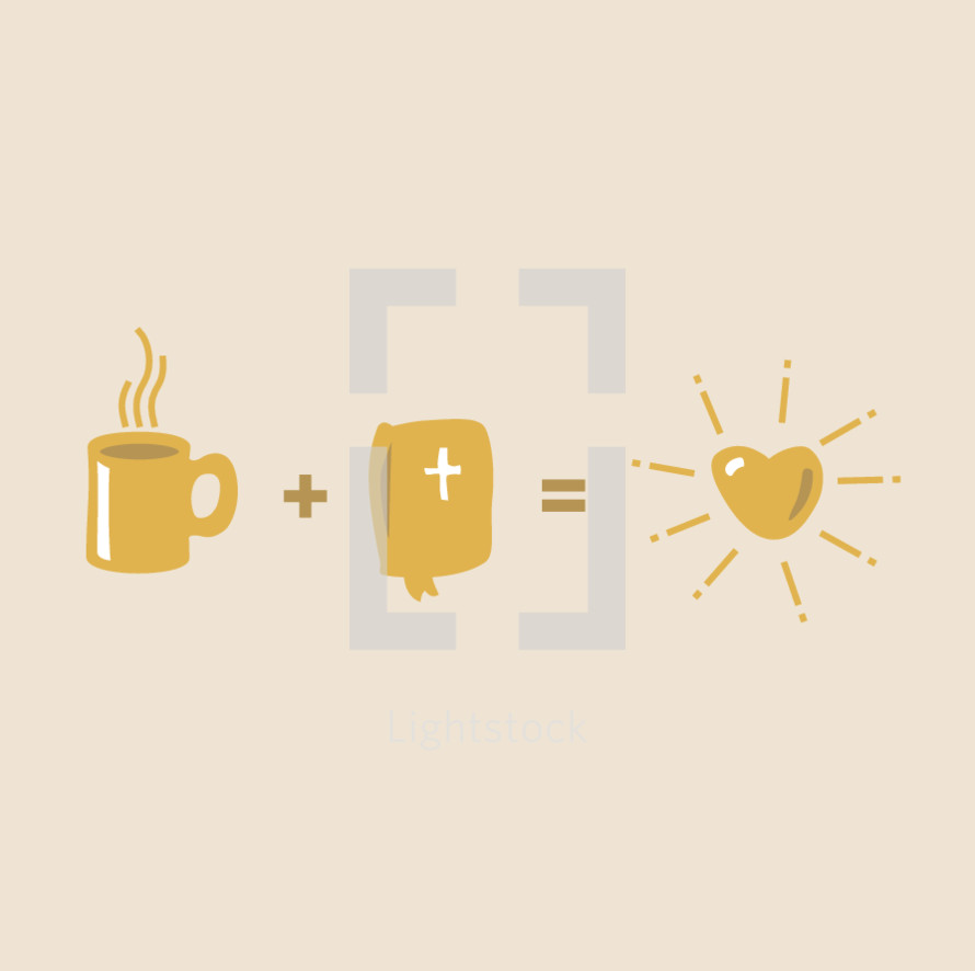 Bible equation, coffee, mug, +, Bible, =, heart, love, illustration