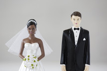 bride and groom; interracial cake toppers.