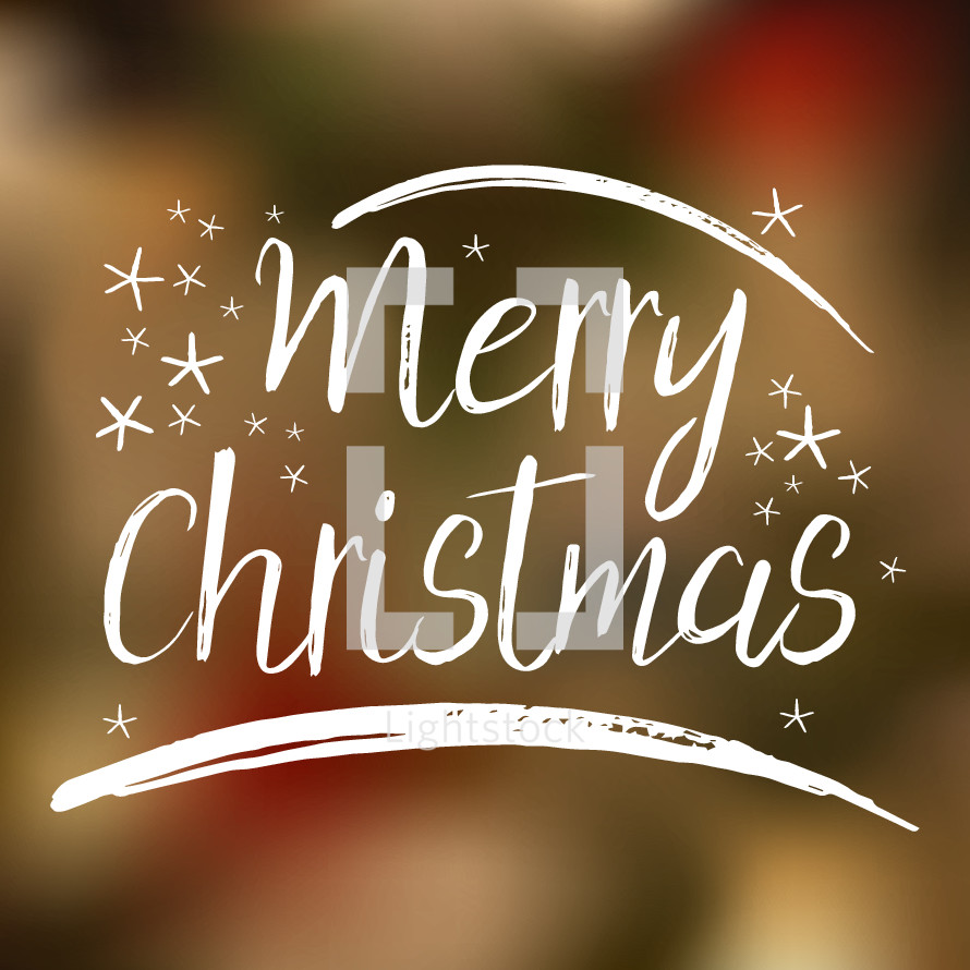 Merry Christmas lettering with bokeh background