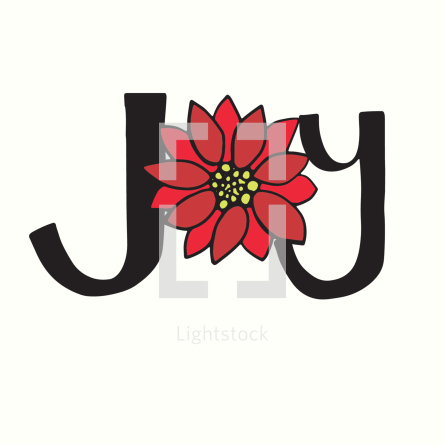 word joy with poinsettia