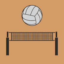 volley ball net and volley ball