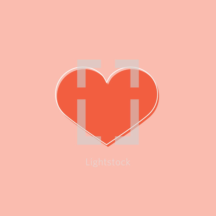 simple red vector heart on pink,