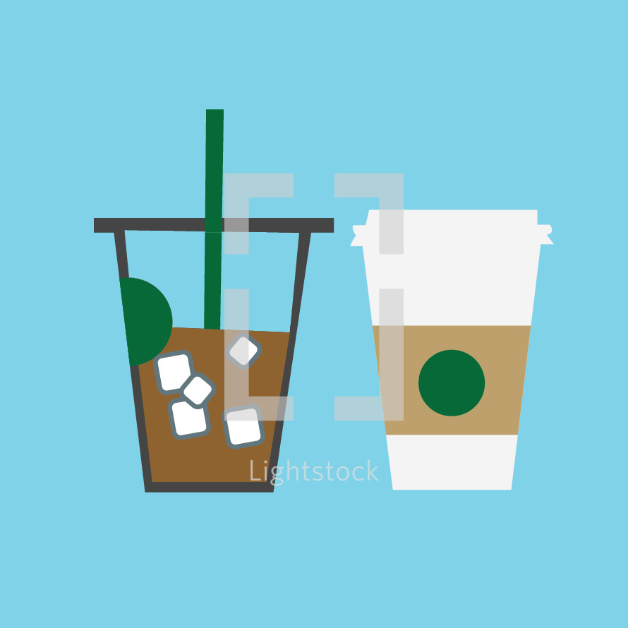 iced coffee and paper coffee cup