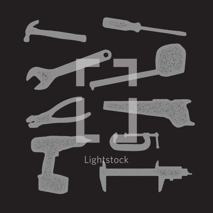 Grunge tools icons.