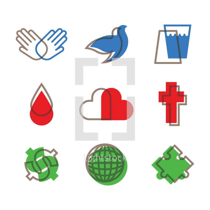 Modern church icon set.