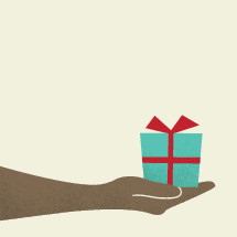 hand holding gift.