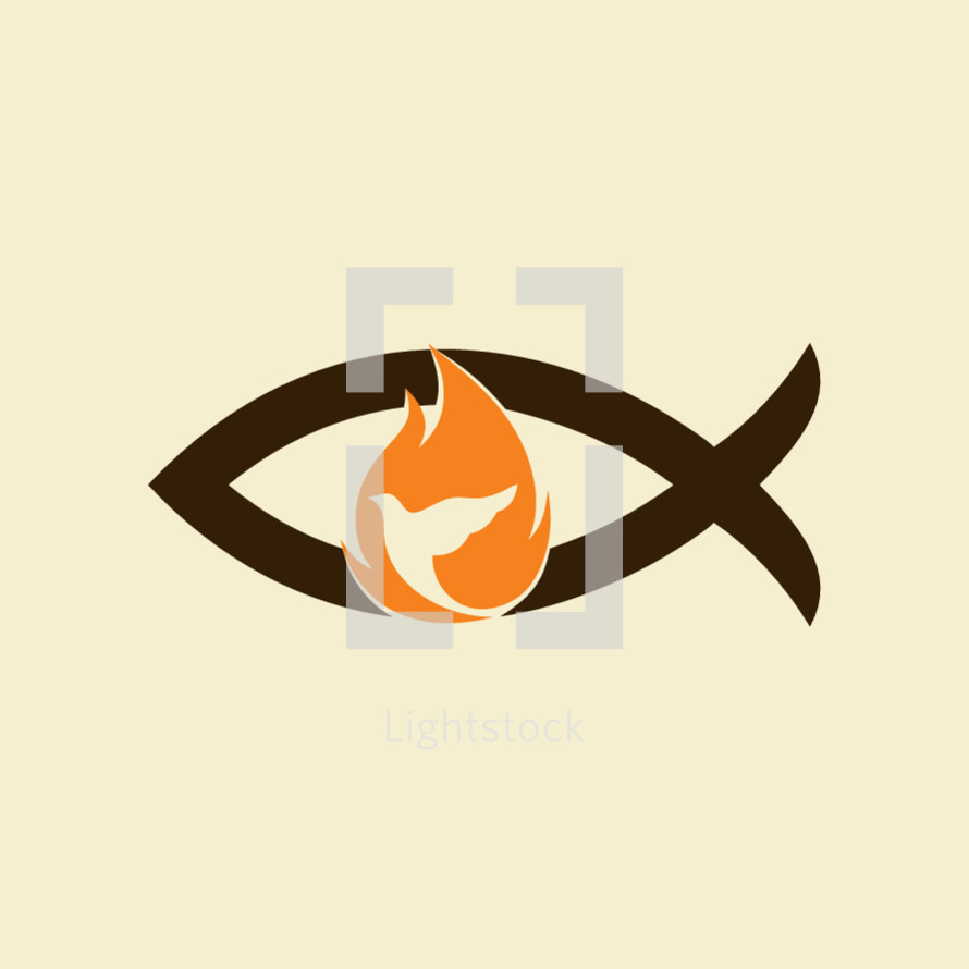 Jesus fish, dove, flame, holy spirt, Jesus, Christian, symbol, icon