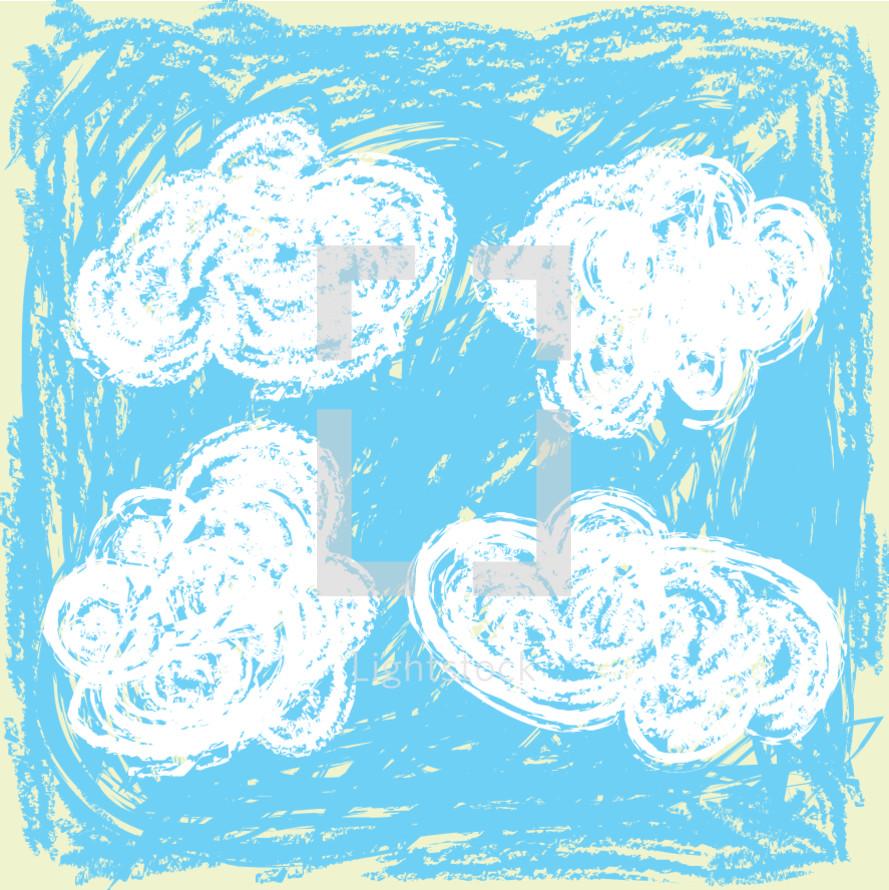 clouds crayon drawing