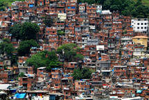 Mountainside high density housing, on the outskirts of the city of Rio de Janeiro, Brazil