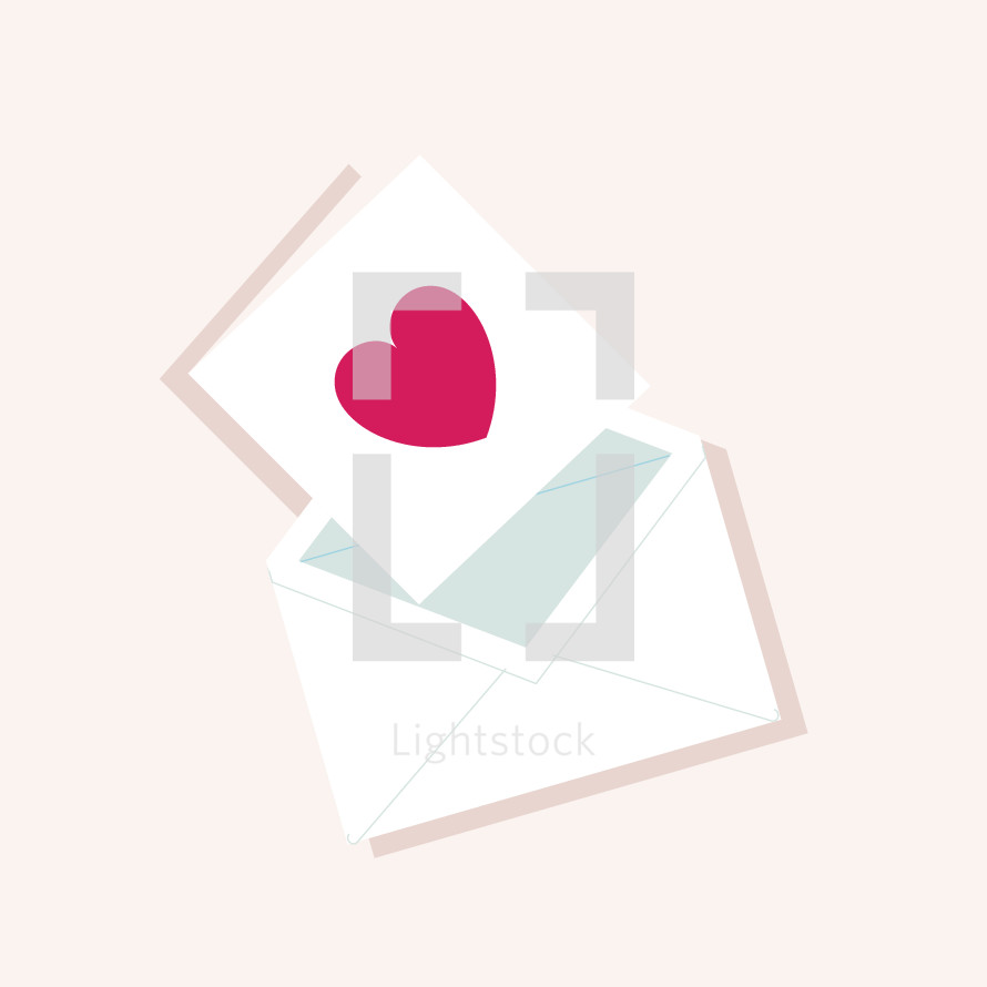 heart on a card and envelope