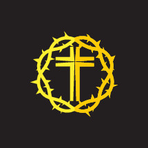 yellow, crown of thorns, cross, icon