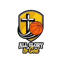 All glory to God basketball on a shield icon