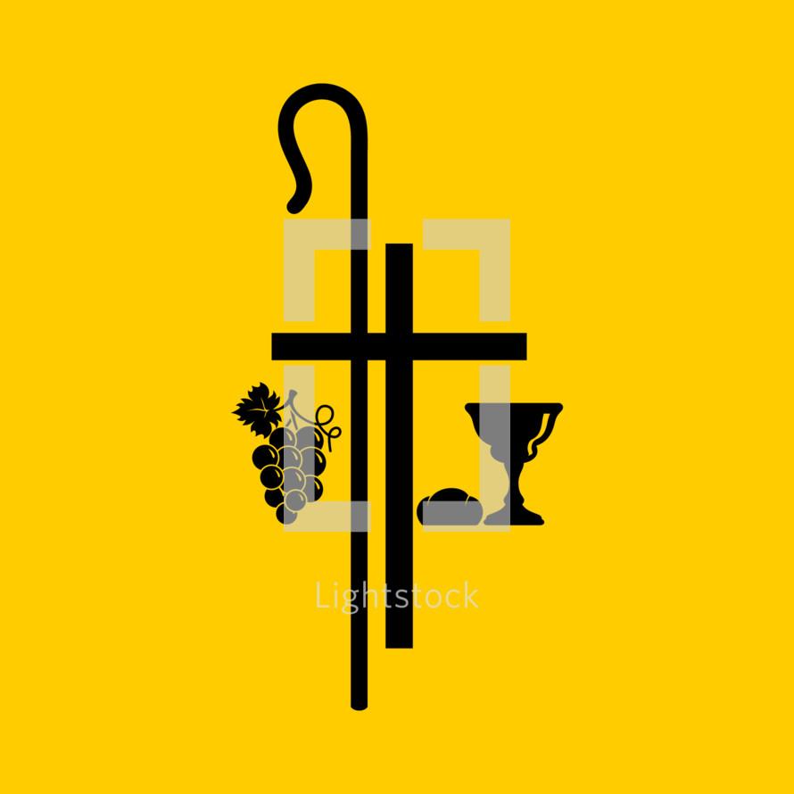 Christian symbols. Communion bowl with wine, bread and shepherd's staff.