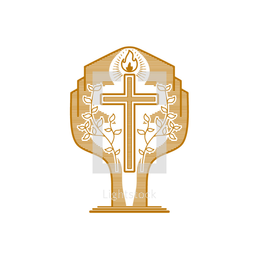 Church logo. Christian symbols. The cross of Jesus and the flame of the Holy Spirit against the background of the tree of eternal life.