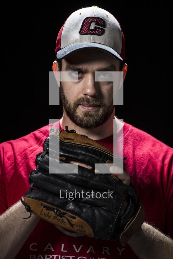 pitcher holding a softball