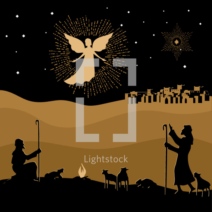 Christmas story. Night Bethlehem. An angel appeared to the shepherds to tell about the birth of the Savior Jesus into the world.