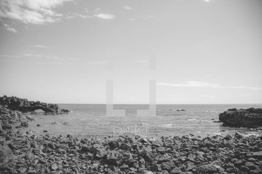rocks on a beach shore