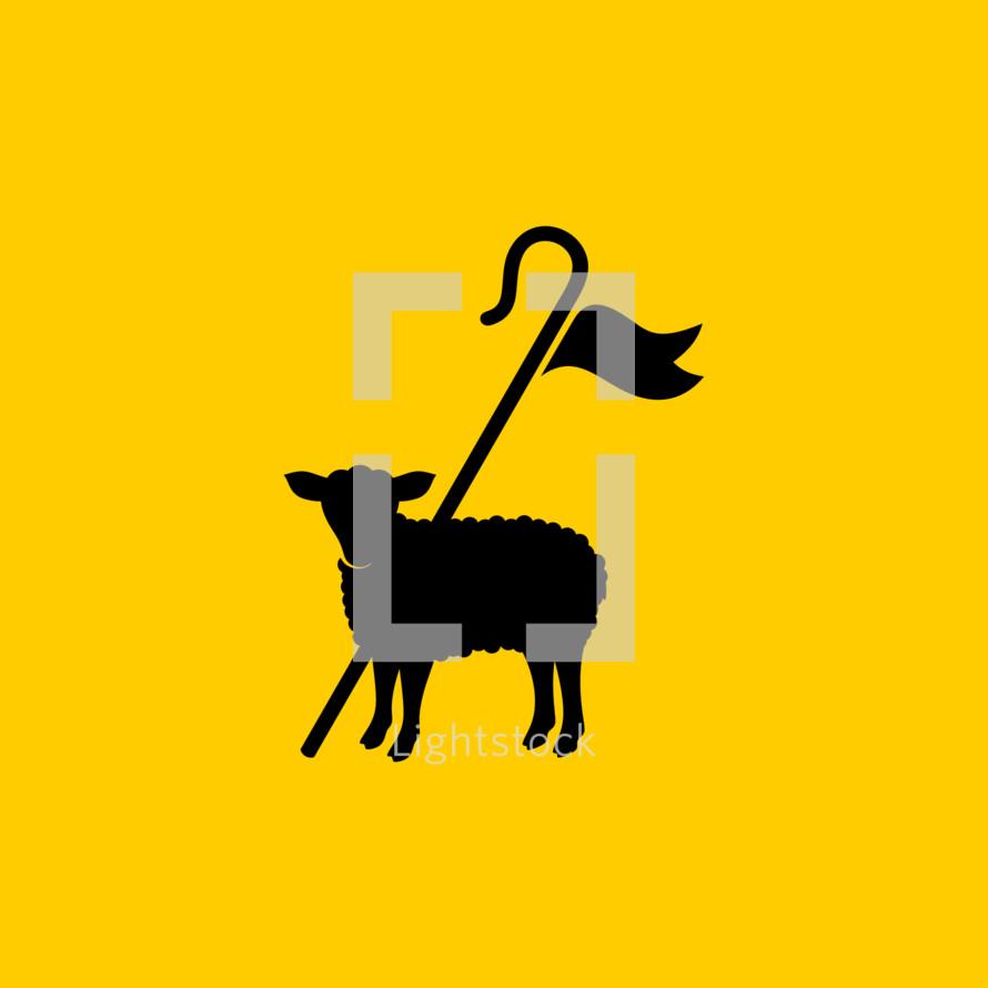 Christian symbols. Shepherd's staff and sacrificial lamb.