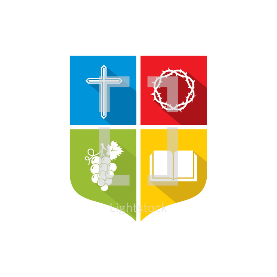 color block, blue, green, red, yellow, cross, grapes, Bible, crown of thorns, shield, icon