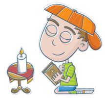 cartoon of a boy praying